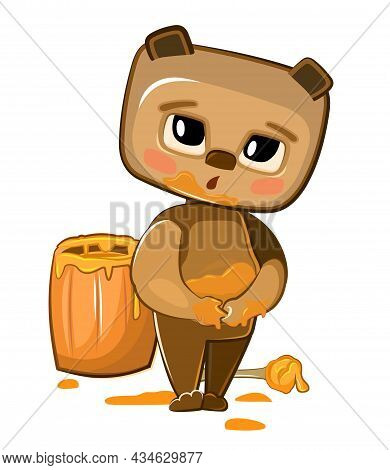 Cartoon Teddy Bear Sweet Tooth Got Soiled With Honey. Wooden Cask. Naive Baby. Funny Childish Illust