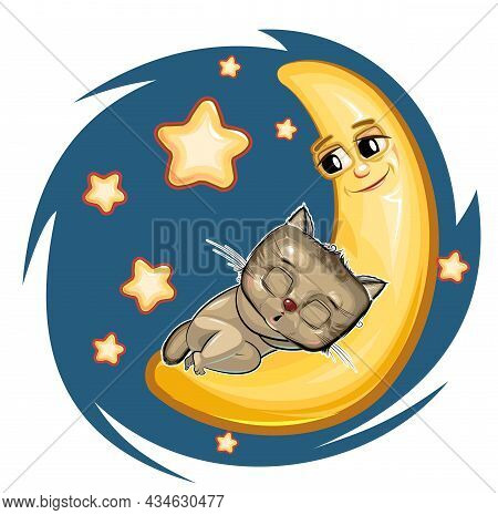 Kid Kitten Sleeps On The Moon. Dreaming A Dream. Childrens Illustration. Funny Night Sky. The Baby A