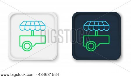 Line Fast Street Food Cart With Awning Icon Isolated On White Background. Urban Kiosk. Colorful Outl