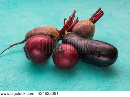 A Set Of Purple Vegetables - Onions, Eggplant, Beets. Purple Vegetables Are Good For Your Health.