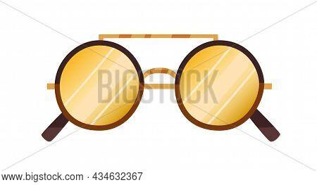 Fashion Sunglasses With Round Lenses. Stylish Sun Glasses With Circle Frame. Summer Eyeglasses. Retr