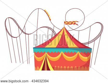 Amusement park attractions with roller coaster amusement rides and round circus tent.  illustration on white background