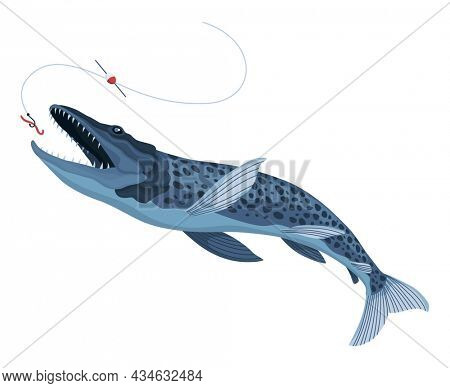 Predatory fish catch. Cartoon fish catching the fishing lure. Pike fishing is jumping to catch a bait on a hook. Sports hobby. Fishing or hunting on worm  illustration