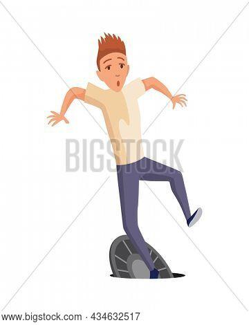 Falling man. Falling down people through the open hatch, accident. Young men dangerous accident. Danger, risk. Bad luck, misfortune, fiasco. Business failure, company crash concept