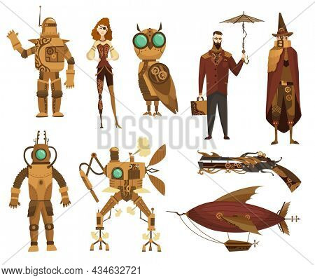 Steampunk technology collection. Fantasy vintage transport and people cartoon characters,  illustration. Mechanical vehicle, pistol and robots. Steam punk invention isolated set