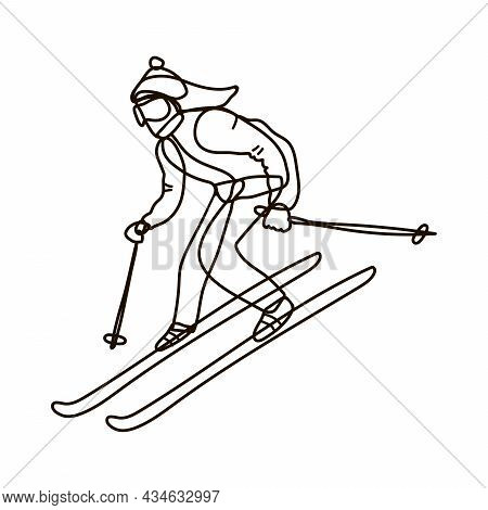 Girl Or Young Woman Is Skiing. Lineart. Black On White Isolated. Doodle Vector Illustration. Doodle