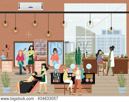 Cosmetologist Doing Makeup, Hairdresser Washing Hair, Giving Hairstyle, Vector Illustration. Beauty
