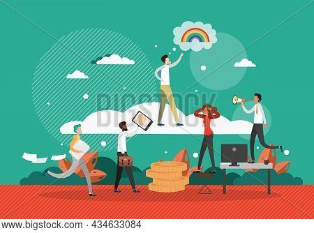 Businessman Dreamer Reaching For Rainbow, Flat Vector Illustration. Business Dream, Career, Goal Ach