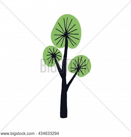 Doodle Simple Tree With Primitive Trunk, Branches And Crown. Abstract Naive Kids Art. Wood Plant. Ch