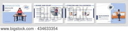 Exhaustion From Work Flat Vector Brochure Template. Flyer, Booklet, Printable Leaflet Design With Fl