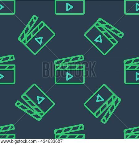 Line Movie Clapper Icon Isolated Seamless Pattern On Blue Background. Film Clapper Board. Clapperboa