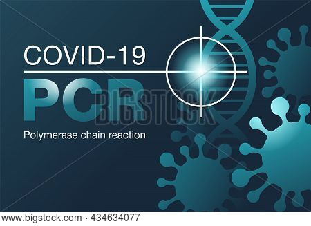 Pcr Testing Banner - Dna Samples Collection For Searching Of Covid-19 Antibodies - Virus Silhouettes