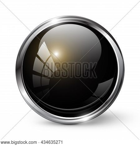 Glossy Shiny Black Round Button With Metal Frame Vector Illustration