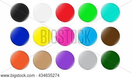 Multicolored Glossy Shiny Round Button Vector Illustration