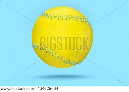 Yellow Softball Or Baseball Ball Isolated On Blue Background. 3d Rendering Of Sport Accessories For