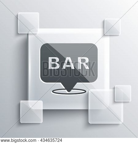 Grey Alcohol Or Beer Bar Location Icon Isolated On Grey Background. Symbol Of Drinking, Pub, Club, B