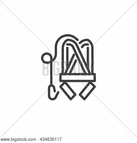 Safety Harness Line Icon. Linear Style Sign For Mobile Concept And Web Design. Construction Safety B