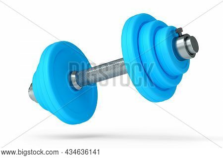Metal Dumbbell With Blue Disks Isolated On White Background. 3d Rendering Of Sport Equipment For Fit