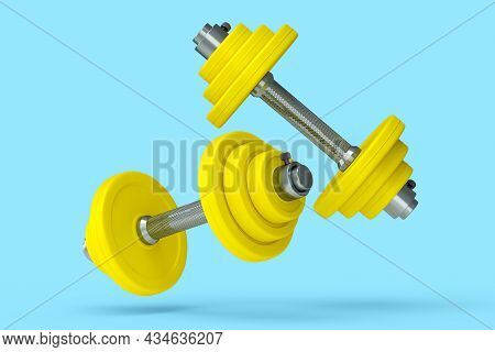 Pair Of Dumbbell With Yellow Disks Isolated On Blue Background. 3d Rendering Of Sport Equipment For