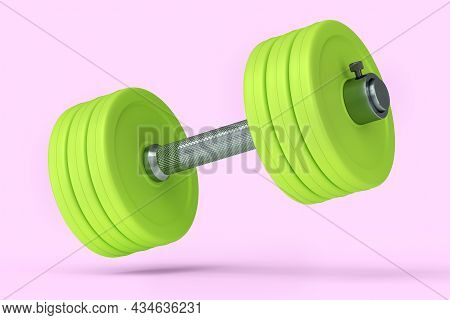 Metal Dumbbell With Green Disks Isolated On Pink Background. 3d Rendering Of Sport Equipment For Fit