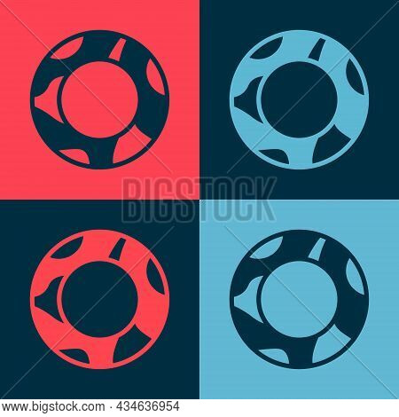 Pop Art Rubber Swimming Ring Icon Isolated On Color Background. Life Saving Floating Lifebuoy For Be