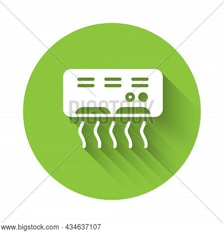 White Air Conditioner Icon Isolated With Long Shadow. Split System Air Conditioning. Cool And Cold C