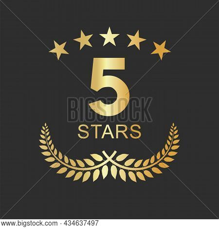 Golden Five Stars Label Luxury Design For Hotel Hostel And Appartement.eps