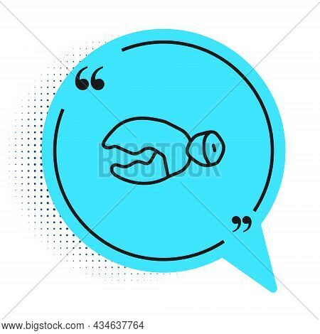 Black Line Lobster Or Crab Claw Icon Isolated On White Background. Blue Speech Bubble Symbol. Vector