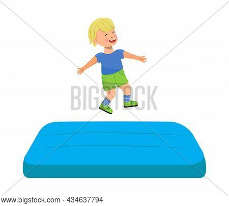 Kid Jumping On Trampoline. Children Leisure, Kids Zone, Active Rest For Little Girl And Boy.