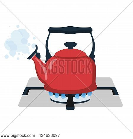 Boiling Kettle. Boiling Water. Kettle On Gas Flame. Evaporating Water From The Spout. Vector Illustr