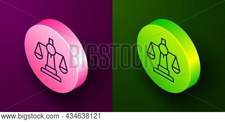 Isometric Line Scales Of Justice Icon Isolated On Purple And Green Background. Court Of Law Symbol.