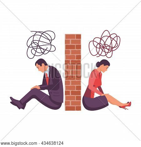 Divorce Concept. Breakup Concept. Man And Woman On Different Sides Of The Wall. Disagreement. Crisis