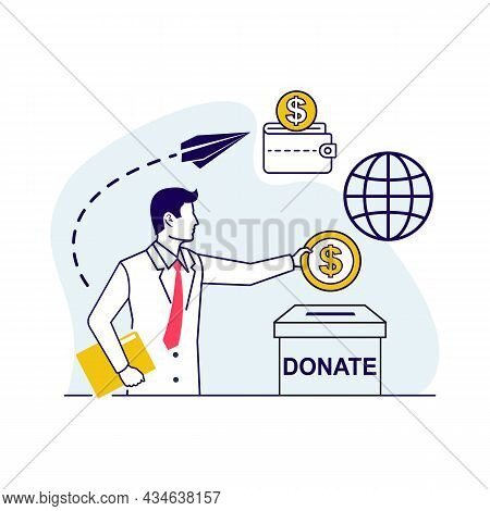 Businessman Throws Gold Coin In A Box For Donations. Golden Coin In Hand. Donate, Giving Money. Vect