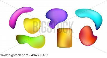Bright Liquid Plastic. Liquid 3d Shapes With Colorful Gradient In Color. Set Iridescent Futuristic L