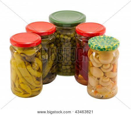 Mushrooms Peppers Cucumbers Tomatoes Preserve Jar