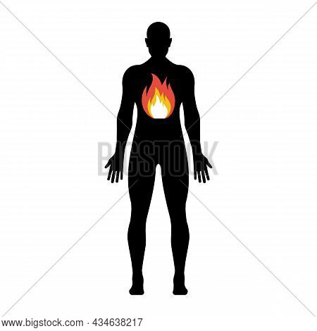 Fire In The Abdomen Of Man. Black Silhouette Of A Young Man. Heartburn Icon. Fire In Stomach. Intest