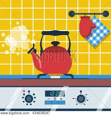 Boiling Kettle With Steam On A Gas Stove. Kettle And Dishes In The Kitchen. Kitchen Surface. Vector