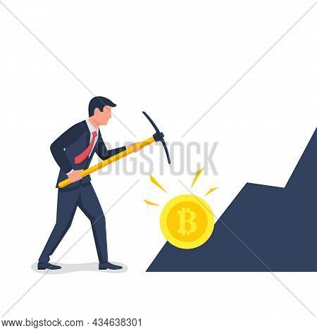 Bitcoin Mining Concept. Businessman With A Pickaxe Produces Digital Coins In The Mountain. Vector Il