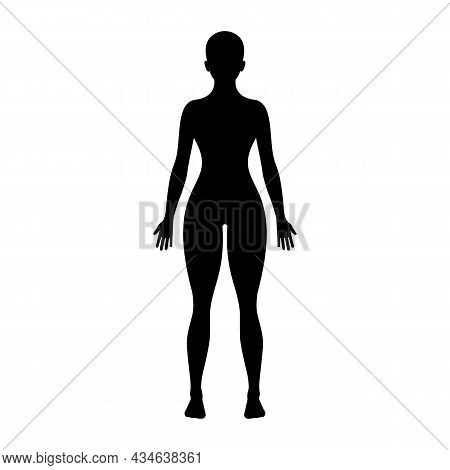 Black Silhouette Of A Young Woman. Perfect Figure Of A Person. Pictogram Female. Glyph Body. Vector