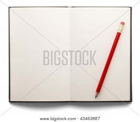Blank Open Book And Pencil
