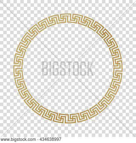 Greek Gold Frame, Circle Meander Pattern, Vector
