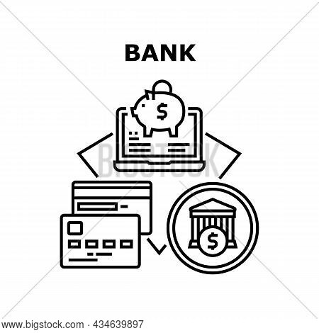 Bank Finance Vector Icon Concept. Bank Finance Building And Online Banking For Make Payment And Chec
