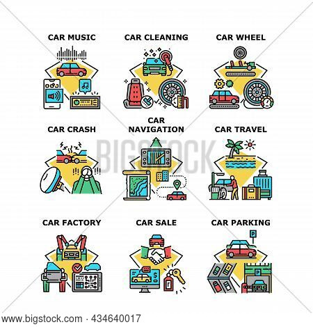 Car Travel Vacation Set Icons Vector Illustrations. Car Factory Wheel And Music Electronic Device, C