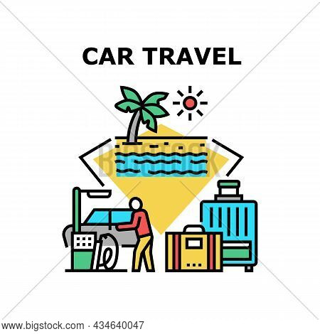 Car Travel Vacation Vector Icon Concept. Car Travel To Seashore Beach With Luggage, Driver Filling F