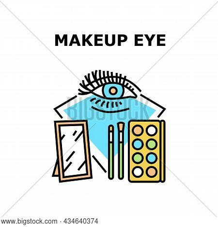 Makeup Eye Accessory Vector Icon Concept. Makeup Eye Accessory Mirror, Brush And Multicolor Mineral