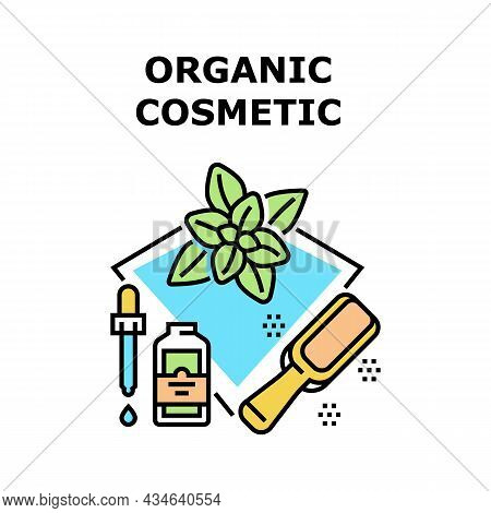 Organic Cosmetic Vector Icon Concept. Organic Cosmetic And Essential Aromatic Liquid Prepared From N