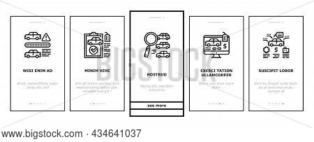Used Car Sale Automobile Service Onboarding Mobile App Page Screen Vector. Used Car Import And Selli