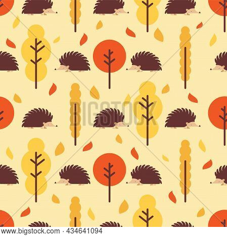 Hedgehog In Autumn Forest Pattern Seamless. Autumn Background. Vector Texture. Baby Fabric Ornament