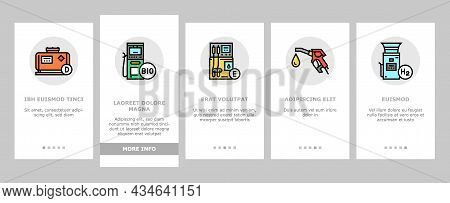 Gas Station Refueling Equipment Onboarding Mobile App Page Screen Vector. Diesel And Gasoline, Ethan