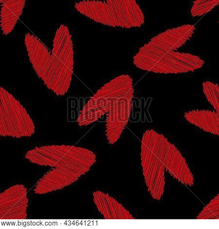 Scribbled Vector Heart Seamless Pattern Background. Black Red Love Concept Backdrop With Delicate Pe